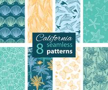 Vector California Nature Eight Set Seamless Pattern. Hummingbird