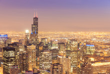 Chicago Skyline Aerial View With Skyscrapers