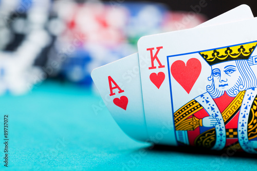 фотография  Ace and king with gambling chips
