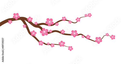Fotografia, Obraz Peach or cherry blossom tree branch with flowers flat vector graphic