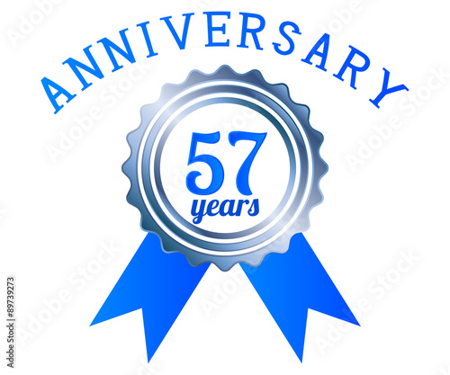 Photo  57 year anniversary logo ribbon