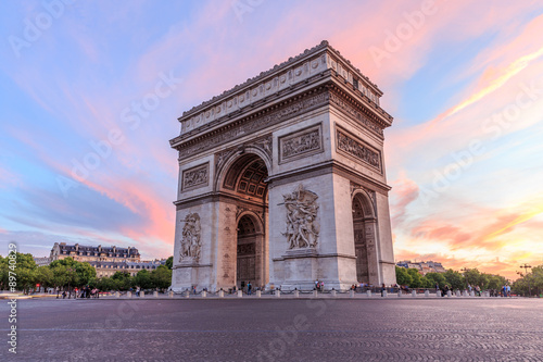 Arc de Triomphe Paris city at sunset Wallpaper Mural