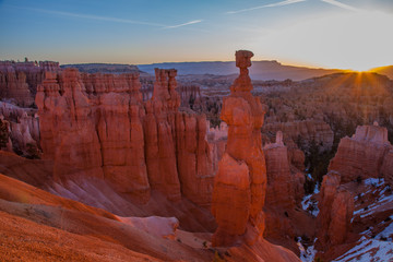 Sun Rises Over Thor's Hammer, Bryce Canyon National Park