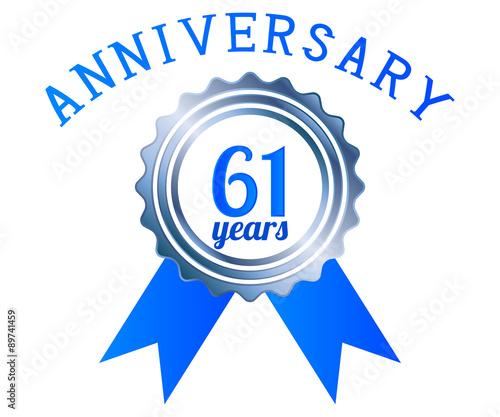 Fotografia  61 year anniversary logo ribbon