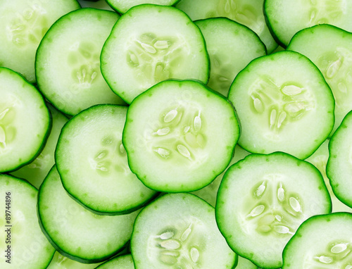 fresh cucumber slices background