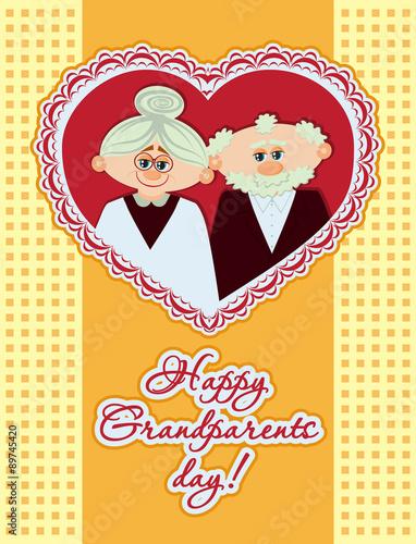 Staande foto Kinderkamer Happy grandparents day. Ideal for postcards, greeting cards, poster. Vector illustration in cartoon style