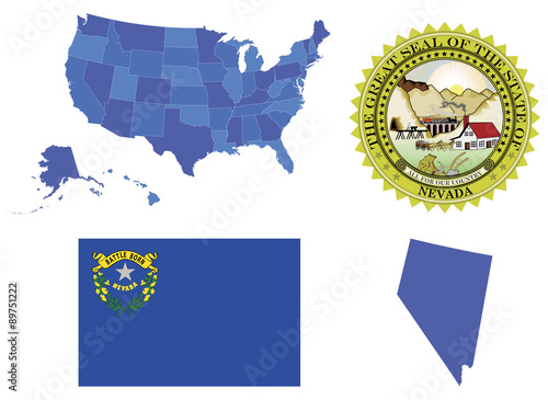 Vector Illustration Of State Nevada Contains High Detailed Map Of Usa High Detailed Flag Of State Nevada High Detailed Great Seal Of State Nevada Nevada State Shape Buy This Stock Vector And