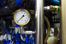 Closeup Of A Pressure Meter On A Machine