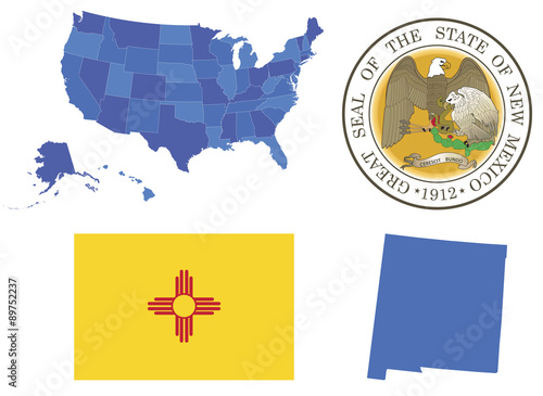 Fotografía  Vector Illustration of New Mexico state,contains: High detailed map of USA High