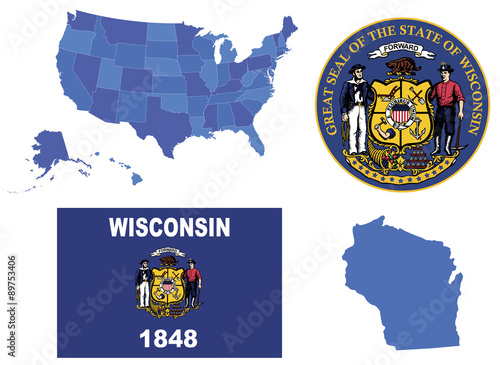 Vector Illustration Of Wisconsin State Contains High Detailed Usa Map High Detailed Flag Of Wisconsin State High Detailed Great Seal Of State Wisconsin State Wisconsin Shape Buy This Stock Vector And Explore