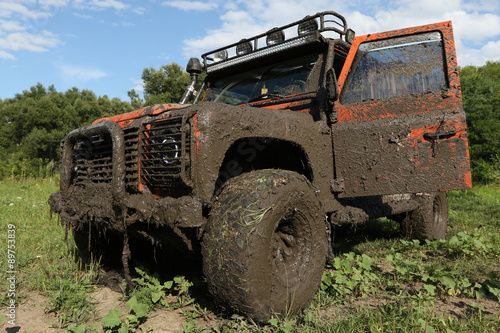 Land Rover Defender after the race Wallpaper Mural