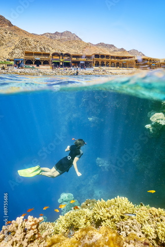Woman snorkeling in Blue Hole, Dahab, Red Sea, Egypt