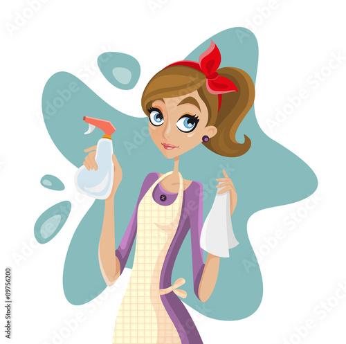 Casalinga intenta a pulire casa