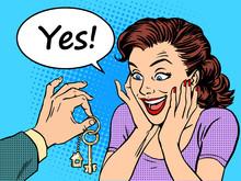 House Keys Real Estate Woman G...
