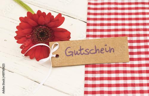 Geschenk Gutschein Geburtstag Romantisch Mit Blume Rot Im