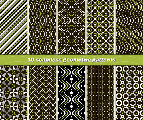 Fotomural 10 seamless abstract geometric contrasting patterns