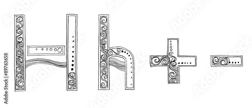 H Minus and Plus Venda freehand pencil sketch font - Buy this stock