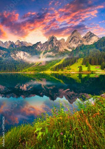 Poster Bergen Colorful summer sunrise on the Vorderer Gosausee lake