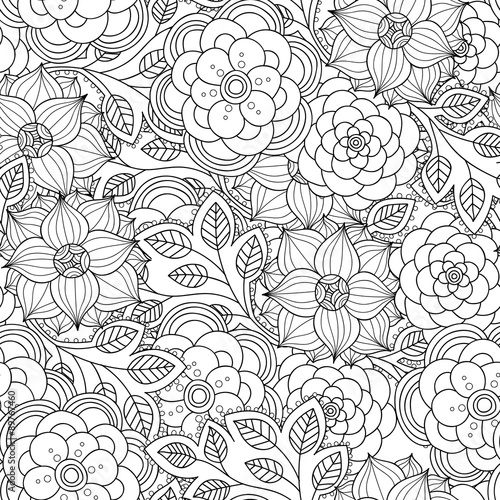Floral seamless pattern. Zentangle doodle background. Black and white hand-drawn pattern.