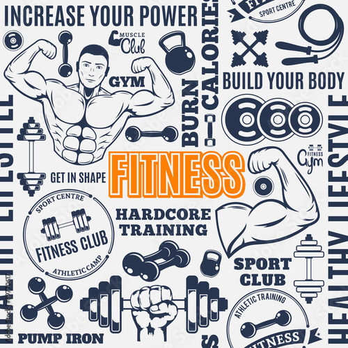 silownia-fitness-typograficzne-wektor-wzor