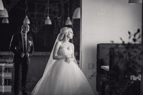 Printed kitchen splashbacks Fairytale World blonde bride with her groom