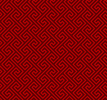 Seamless Chinese Window Tracery Spiral Line Geometry Pattern Background.