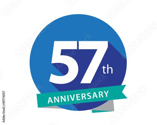 Fotografie, Obraz  57 Anniversary Blue Circle Logo
