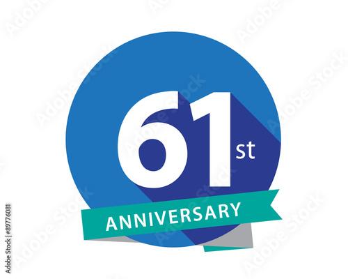 Fotografia  61 Anniversary Blue Circle Logo
