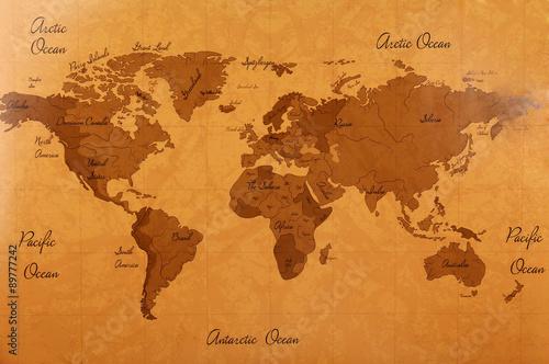 Foto op Aluminium World map close up