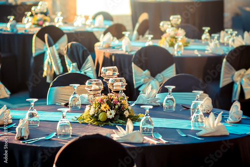 Photo wedding banquet table setting