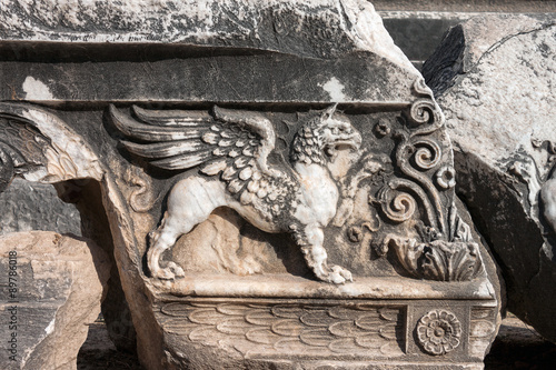 Valokuva  Griffin relief at the Temple of Apollo in antique city of Didyma