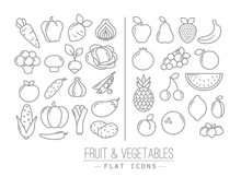 Flat Fruits Vegetables Icons
