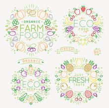 Fruits Vegetables Monograms Color
