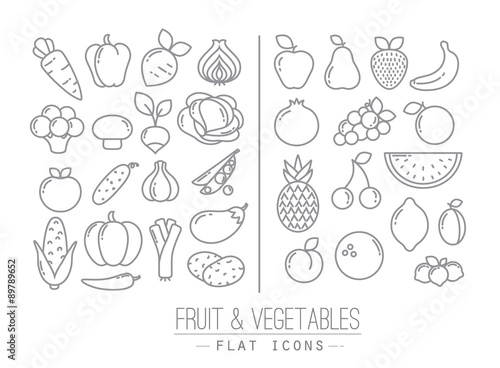 Poster Cuisine Flat Fruits Vegetables Icons
