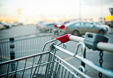 Shopping Carts Near The Shopping Mall Parking Outddors