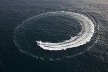 Small Yacht Making A Circle In...