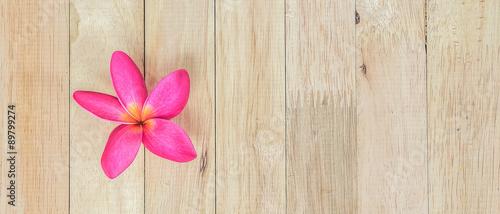 Stickers pour porte Frangipanni Plumeria flower on wood floors