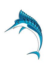Jumping Blue Marlin Fish Character