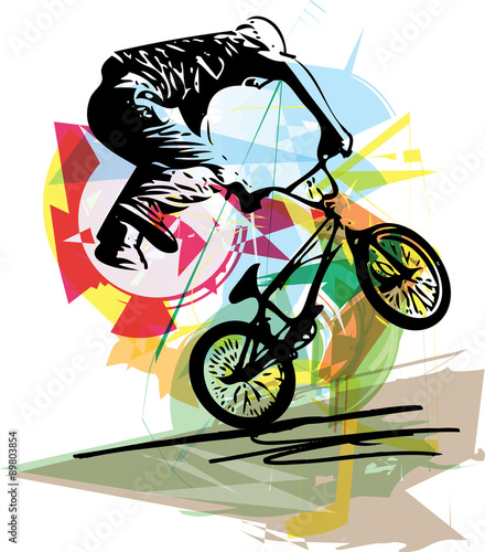 Photo bicycle rider on abstract background