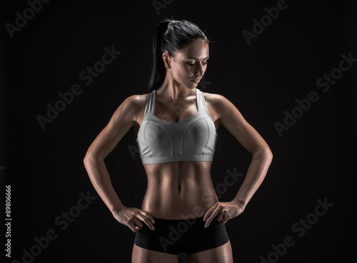 Photo sur Toile Fitness attractive fitness woman, trained female body, lifestyle portrai