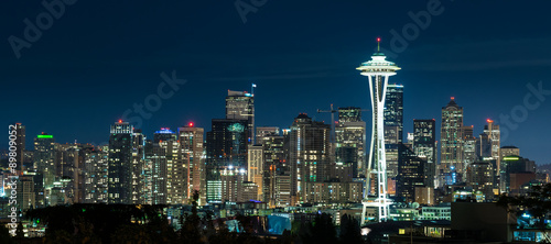 Photo Stands Night blue Seattle Skyline at Night