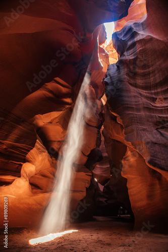 Tuinposter Canyon Sunbeam in Antelope Canyon