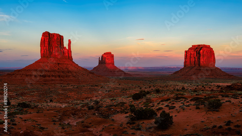 Famous Buttes of Monument Valley at sunser, Utah, USA