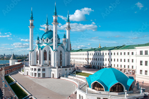 KAZAN, RUSSIA - AUGUST 20, 2015: Kul Sharif (Kol Sharif, Qol Sharif) Mosque in Kazan Kremlin. Main Jama Masjid in Kazan and Republic of Tatarstan. UNESCO World Heritage Site. Kazan, Tatarstan, Russia.