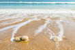 Beautiful sea summer or spring abstract background. Golden sand beach