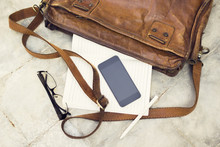 Brown Leather Handbag, Blank C...