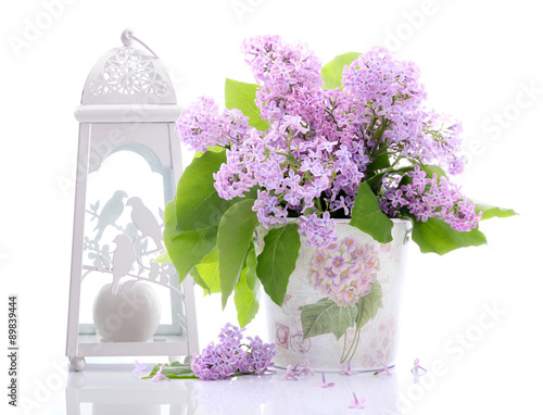 Lilac flowers decoration on a white background - 89839444
