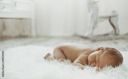 Newborn baby peacefully resting