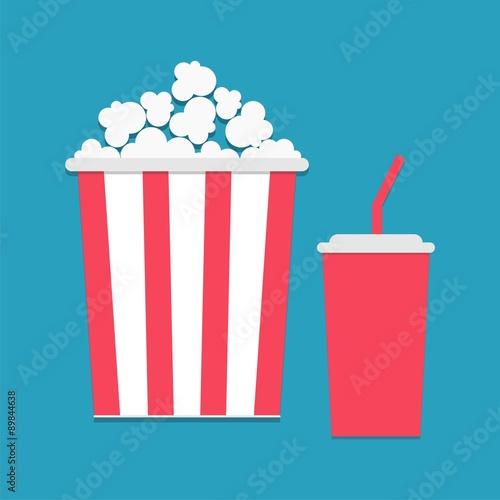 Photo  Popcorn and soda with straw