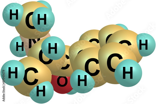 Fotografie, Obraz  Ephedrine molecule isolated on white